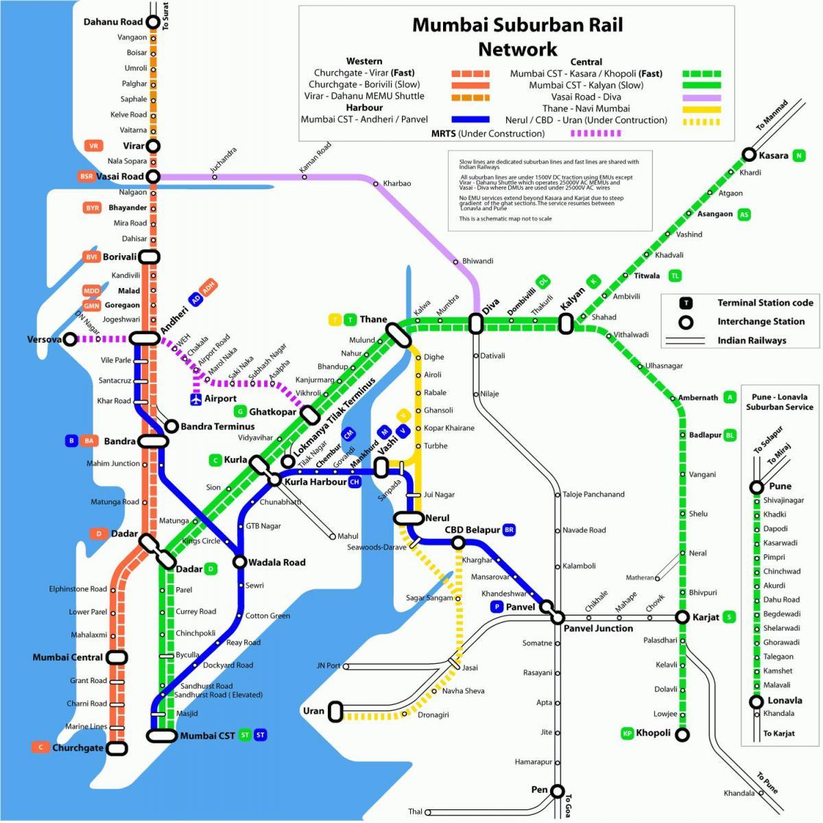 Maharashtra Railway Map Mumbai local rail map   Mumbai local railway map (Maharashtra   India) Maharashtra Railway Map